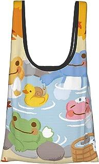 青蛙Pickles 1 人气时尚 购物袋 可重复使用 环保袋 可洗涤 折叠式 A级环保 高耐久性 可放入口袋内 大容量 防水 耐久性超群 男女通用