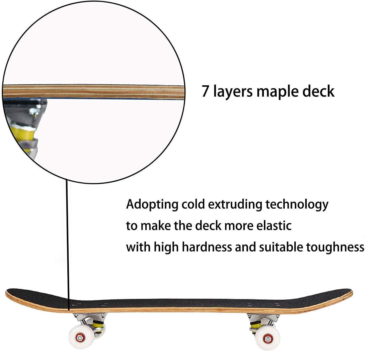 Funtress Skateboard 7 Layers Decks 31x8 Pro Complete Skate Board Maple Wood Outdoor Longboards for Teens Adults Beginners Girls Boys Kids