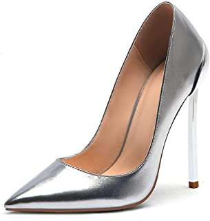 Solid Color Sexy High Heels For Banquet Wedding Dress Daily (Color : Silver, Size : 36)