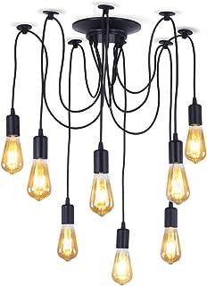 Dixun Retro Classic Edison Lamp Chandelier Loft Light Spider Pendant Lighting Fixture Industrial Ceiling CeilingLight for Farm House Dining Room Hotel (8 Arms)