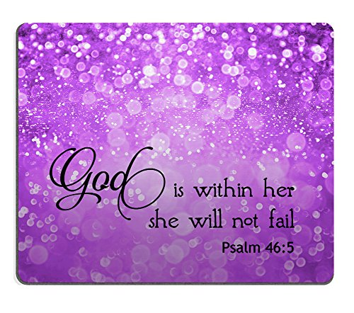Smooffly Psalm 46:5 God is Within Her,She Will not Fall- Bible Verse Purple Sparkles Glitter Pattern Mouse pad Mousepads