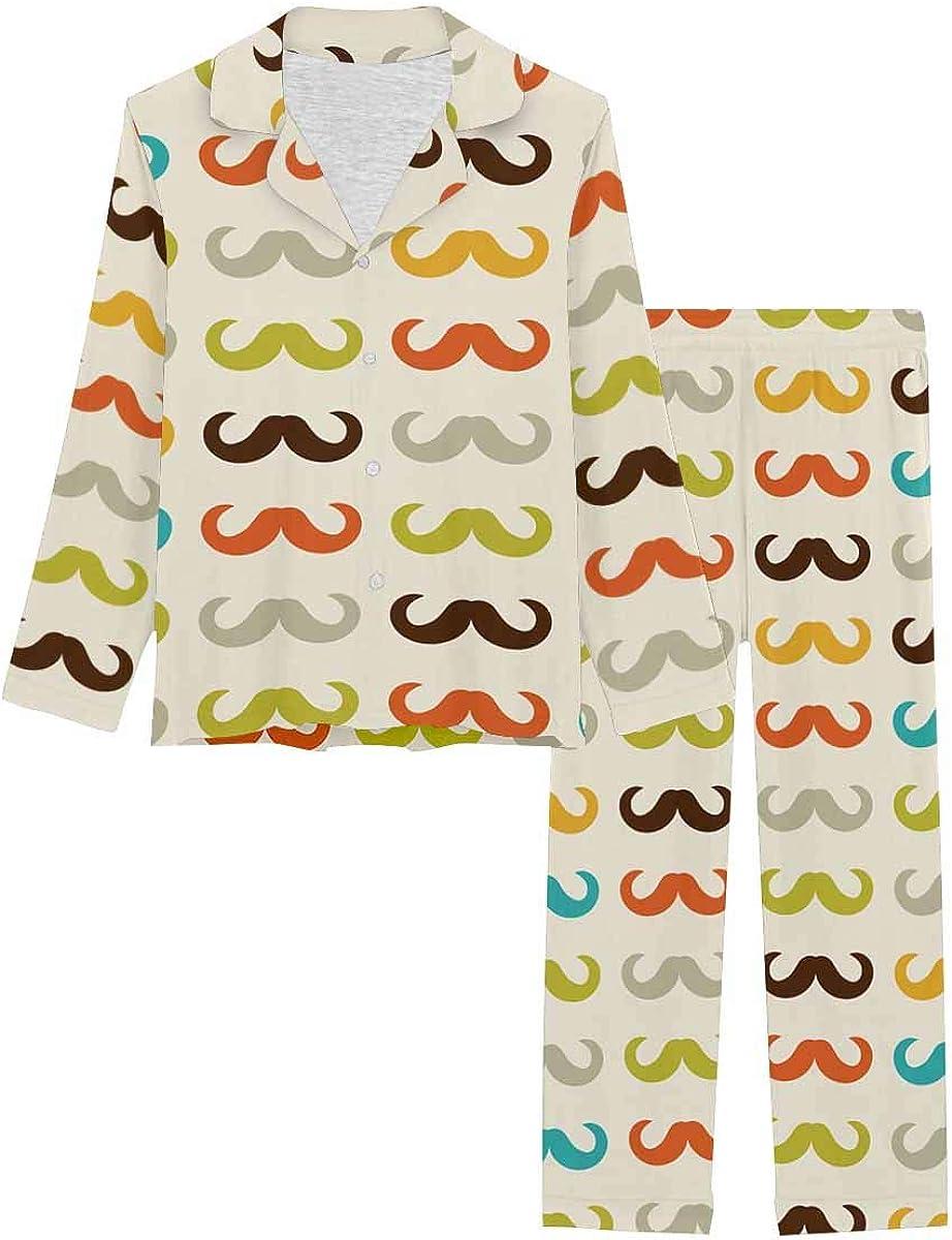 InterestPrint Long Sleeve Nightwear Button Down Loungewear for Women Pattern with Mustache