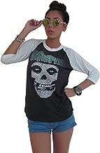 blueskyshop BSK Womens Misfits Skull Logo Tour 3/4 Sleeve Baseball Jersey Raglan T-Shirt