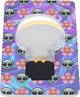 YBMPQAZE Rainbow Space Aliens are Aeal Images Folding Card LED Night Light Outdoor Emergency Light Durable LED Card Light 2 Pack
