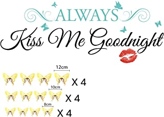 Family Lover Vinyl Wall Decal Stickers Always Kiss Me Goodnight, for Sofa TV Background Living Room Bedroom Removable Viny...