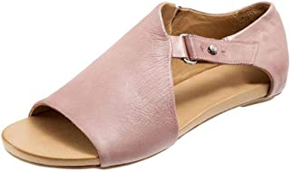 SNIDEL Flat Sandals for Women Strappy Low Wedge Open Toe Sandal Casual Summer Pu Leather Shoes