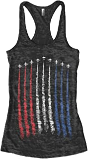 Women's Red White Blue Air Force Flyover Burnout Racerback Tank Top