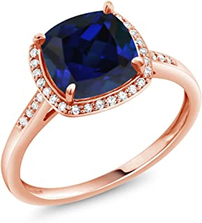 2.50 Ct Cushion Blue Simulated Sapphire 10K Rose Gold Engagement Ring with Diamond Accent (Available 5,6,7,8,9)