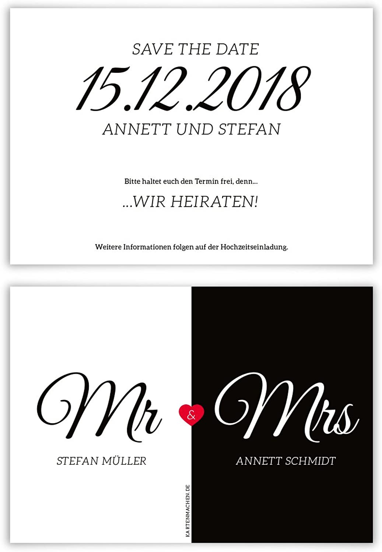 40 x Hochzeit Save the Date Karten Hochzeitskarten individuell - Mr. & Mrs. B077TGCFGY  | Verschiedene Arten Und Die Styles