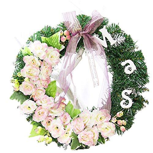 Guirnalda de Navidad flores rosas - 30 cm
