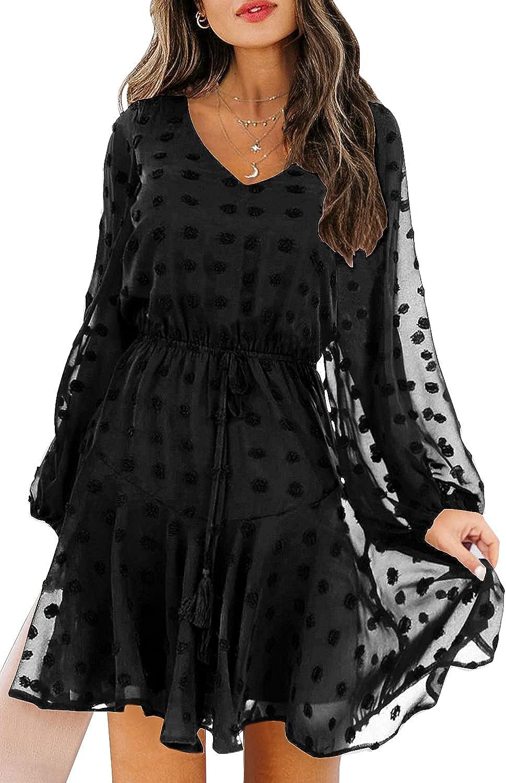 KIRUNDO Women's Dress Long Sleeves V Neck Flowy Mini Dress Swiss Dot High Waist Chiffon Casual Dress with Belt
