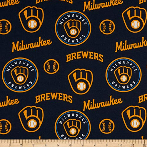 MLB Cotton Broadcloth Milwaukee Brewers Fabric by The Yard