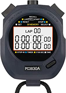 LEAP Stopwatch Professional Timer 3 RAW 10/30/100 Lap Split Memory with Digital Extra Large Screen for Stopwatches Sports Game Timer Count up Down Water Resistant