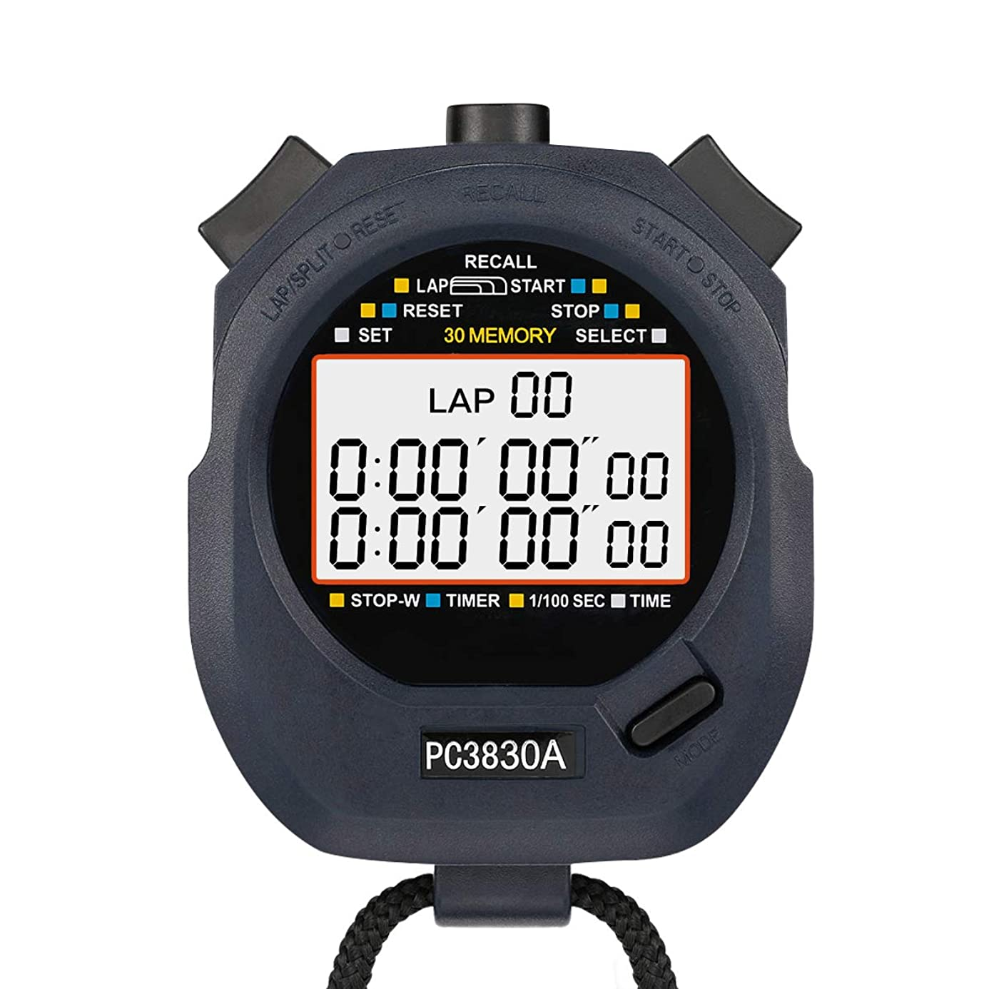 LEAP Stopwatch Professional Timer 3 Row 30 Lap Memory with Digital Extra Large Screen for Stopwatches Sports Game Timer Count up Down Water Resistant