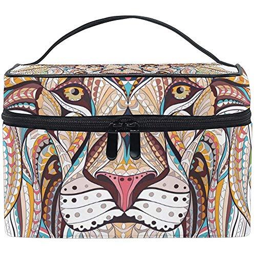 Voyage Sac cosmétique Ethnique Tribal Lion Maquillage Sac Pochette fourre-Tout Cas Organisateur de Stockage pour Femmes Filles