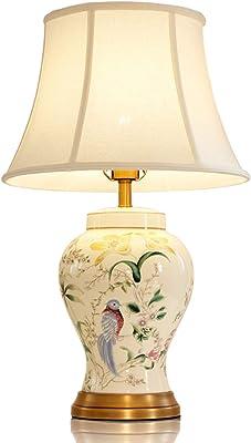-lampe bureau Céramique Lampe de table Salon Chambre Décoration de Table de chevet Lampe Étude européenne Villa Retro Et Fleur Oiseau Céramique Lampe de table deco bureau lampe (Color : 43cm)