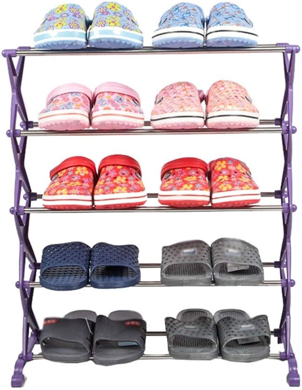 punto de venta en línea YXCUIPD Gabinete de de de Zapatos Almacenaje de Zapatos Ajustable Estantes para Zapatos Estantes de 5 Niveles para Guardar el gabinete de plástico Organizador de Zapatos Estantes para 10 Pares (púrpura) 56  el mas de moda