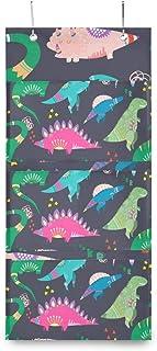 XIXIKO Sac de rangement mural à suspendre avec 3 poches Motif dinosaures dessinés à la main Pour vêtements, articles diver...