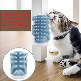 CheeseandU 1Pack Cat Self Groomer with Catnip, Upgraded V3.0 Soft Rubber Bristles Massage Comb, 3 Installation Methods Grooming Brush Toy Perfect Massager Tool for Long Short Fur Kitten Cat Dog
