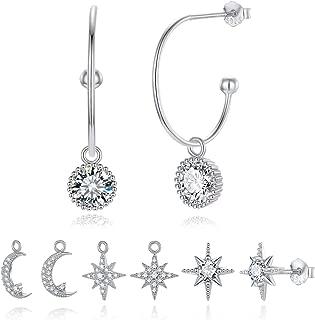 Dangle Hoop Earrings for Women 925 Sterling Silver Hoop Dangle Earring CZ Charm Drop Hoop Earrings Hypoallergenic Earring Set for Women