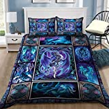 TeeValley Dragon Collection Art Duvet Cover, Luxury Soft Bedding Sets – 3 Pieces Breathable, Feel Comfortable, Cozy, Lightweight, Great for Your Bedroom or The Guest Room Queen