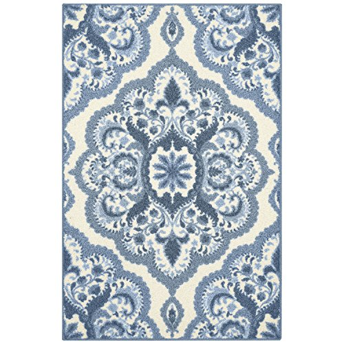 Maples Rugs Kitchen Rug - Vivian 2.5 x 4 Non Skid Small Accent Throw Rugs [Made in USA] for Entryway and Bedroom, 2'6 x 3'10, Blue