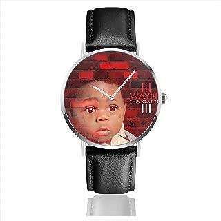 JohnMichelle Unisex Woman Men Lil Wayne Tha Carter III Leather Watch Stainless Steel Quartz Watch Fashion Dress Wrist Watch 40mm Case Gift