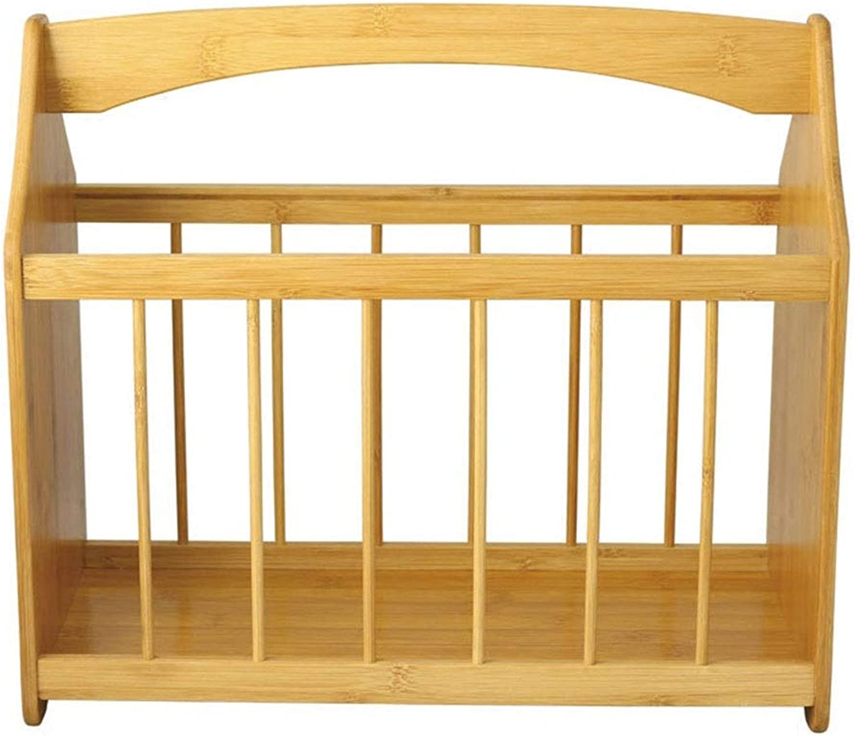 Bamboo Wooden Desktop Storage Shelf,1 Tier Freestanding Desk Magazine Newspaper Organizer Bookcase Table Storage for Home Natural Rack