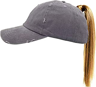 Washed Ponytail Hat Baseball Distressed Women High Bun Dad Hat