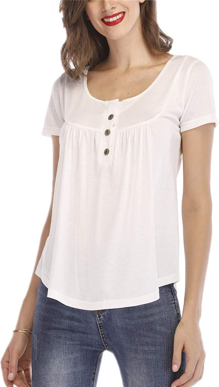 Chrisuno Women's Plus Size Henley Shirts Pleated Tunic Vacation Office Work Blouse Top