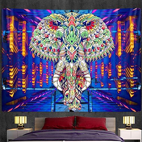 KHKJ Tapiz de Mandala de Elefante Indio, Tapiz de Pared con impresión, Estera de Yoga, Dormitorio, decoración del hogar, colchón Bohemio A1 200x150cm