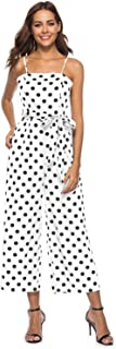 Women's Summer Sexy Spaghetti Strap Sleeveless Waist Belted Back Wide Leg Casual Loose Polka Dot Jumpsuit Rompers