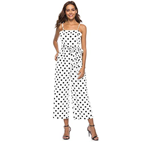 f59cfac3c54 Women s Summer Halter Sleeveless Waist Belted Back Wide Leg Casual Loose Polka  Dot Jumpsuit Rompers