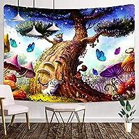 蝶のタペストリー60X40インチキノコのタペストリー巨大な木のタペストリー家の装飾のための漫画の森のタペストリー平和の壁の芸術の掛かる装飾