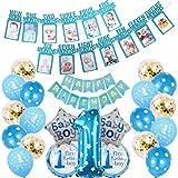 TriEco Pancarta de cumpleaños para niños de 1 año, para fotos desde recién nacidos hasta 12 meses, color azul