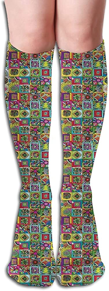 Men's and Women's Funny Casual Combed Cotton Socks,Grid Style Squares with Colorful Flower Doodles and Geometric Shapes