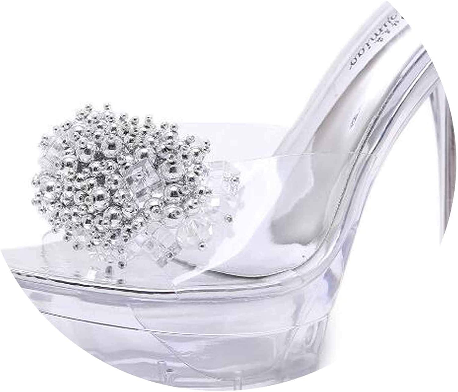 Surprisedresshatglasses-slippers Slope Sandals Crystal Transparent Diamond Wedges Sandals High Heels 8.5cm Slope Sandals