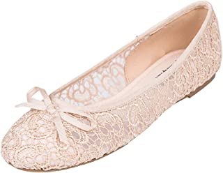 Feversole Round Toe Lace Ballet Crochet Flats Women's Comfy Breathable Shoes