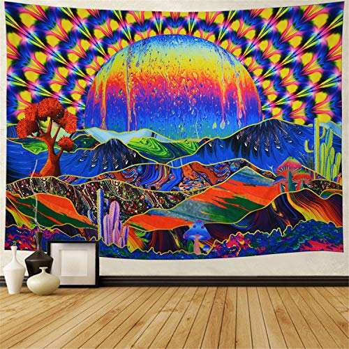 """Trippy Tapestry Planet and Mountains Wall Tapestry Psychedelic Tapestry Mushrooms Cactus Wall Hanging Tapestry Mountian Tree Tapestries for Living Room Dorm Decor W59""""×H51"""""""