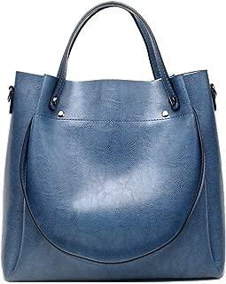 Fine Bag/PU Women's Handbag Retro Large-Capacity Shoulder Bag Casual Wild Crossbody Bag Multi-Function Female Bag Work Shopping (Color : Blue, Size : 30 * 12 * 29cm)