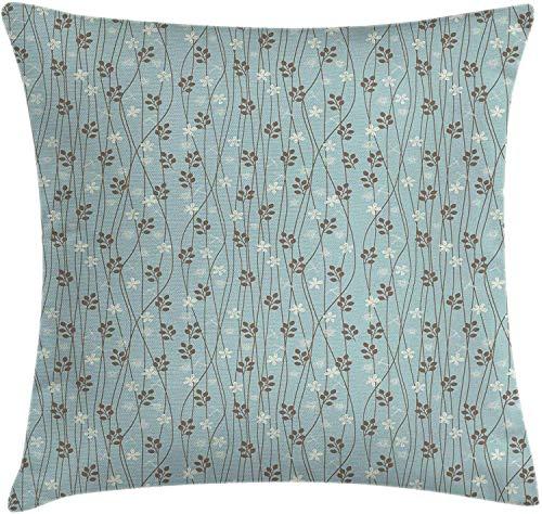 Funda de cojín rústica, diseño floral cuadrado, para sofá, cama, silla, sofá, decoración de 45,7 x 45,7 cm