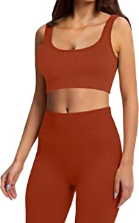 Jetjoy Seamless Workout Sets for Women 2 pcs Ribbed Crop Tank High Waist Shorts Yoga Gym Outfits (Coffee, s)