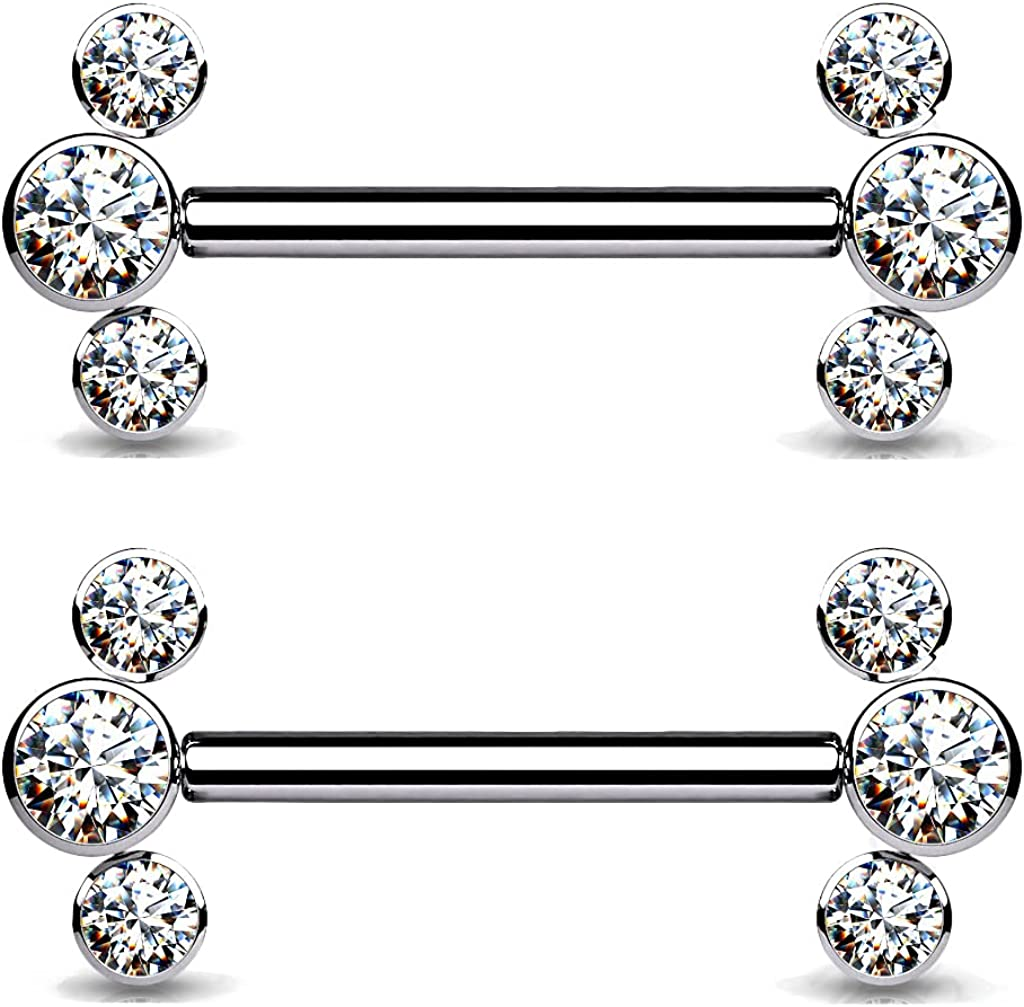 Dynamique Implant Grade Titanium Threadless Push in Nipple Barbell with 3 CZ Bezel Set Ends (Sold Per Pair Or Per Piece)