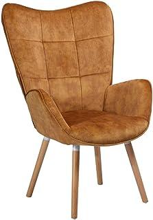 MEUBLE COSY Grand Fauteuil au style scandinave avec un revêtement en tissu marron, des accoudoirs rembourés et des pieds e...