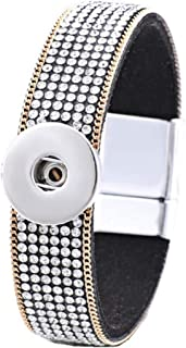 Interchangeable Snap Jewelry Magnetic Bracelet Crystal & Gold Trim Length 7.5 inches Holds 18mm Snap My Prime Gifts