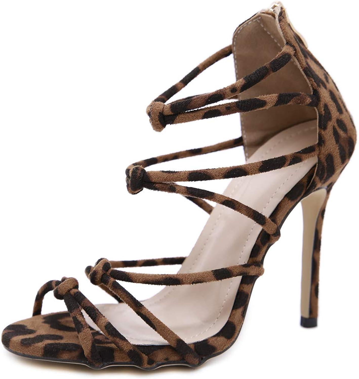 Women's Sandals - High-Heeled Sexy Leopard Cross-Belt Women's shoes