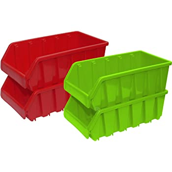 Vintiquewise Basicwise Set of 4 Plastic Storage Stacking Bins