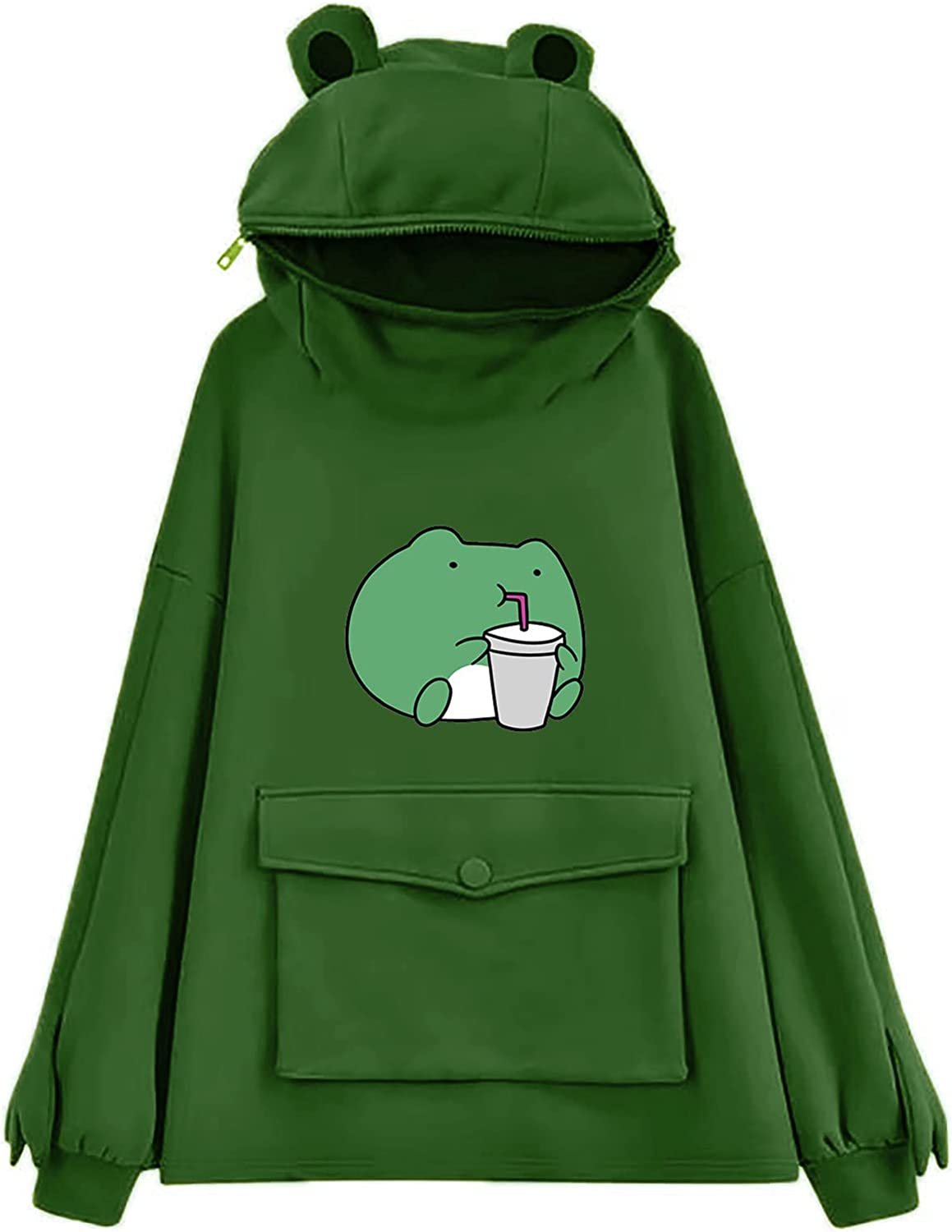 ORT Hoodies for Women, Hoodies for Women's Cute Frog Graphic Loose Long Sleeve Casual Sweatshirts Pullover Tops with Pocket