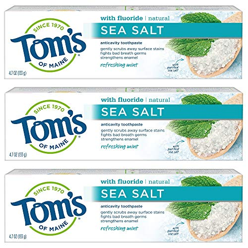 Tom's of Maine Sea Salt Natural Toothpaste with Fluoride, Refreshing Mint, 4.7 oz. 3-Pack