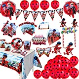Ladybug Party Supplies Kit de vajilla para decoración de fiesta de cumpleaños para niñas incluido Banner Globos Decoraciones Paquete de suministros para 10 niños